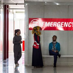 Staff and patients in the waiting area of one of our Clinics for refugees and IDP in Iraqi Kurdistan