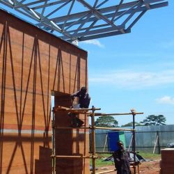 On the construction site of EMERGENCY's Centre for Pediatric Surgery in Entebbe, Uganda