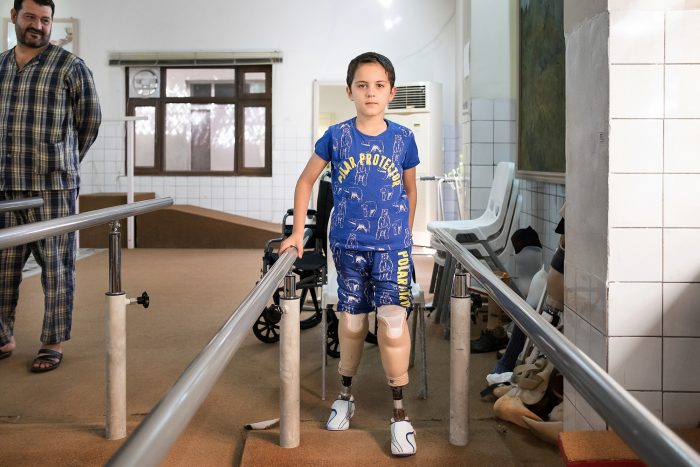 Bakir and his father at the Rehabilitation and Social Reintegration Centre in Sulaymaniyah, Iraq