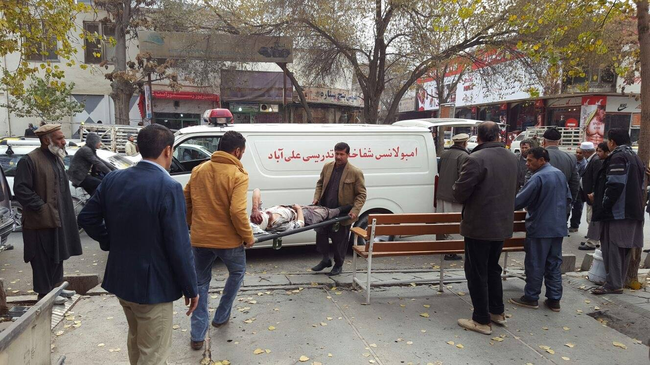 An ambulance carrying a wounded man in Kabul