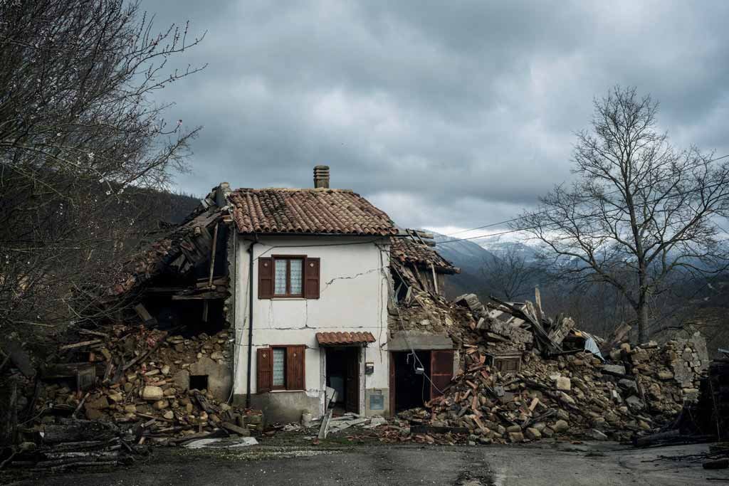 In Central Italy, a house destroyed by the earthquake
