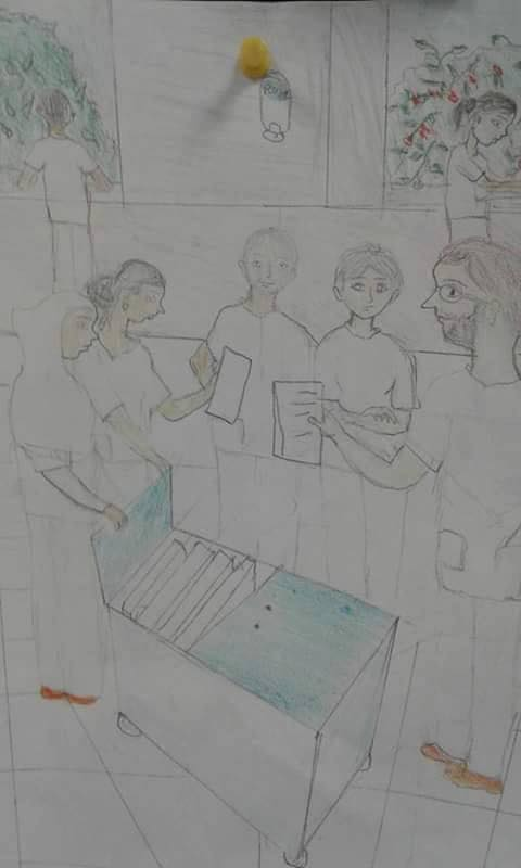 One of the wards of the Salam Centre as depicted in the drawing of one of our little patients