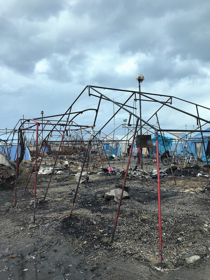 San Ferdinando camp for migrant after the fire destroyed it