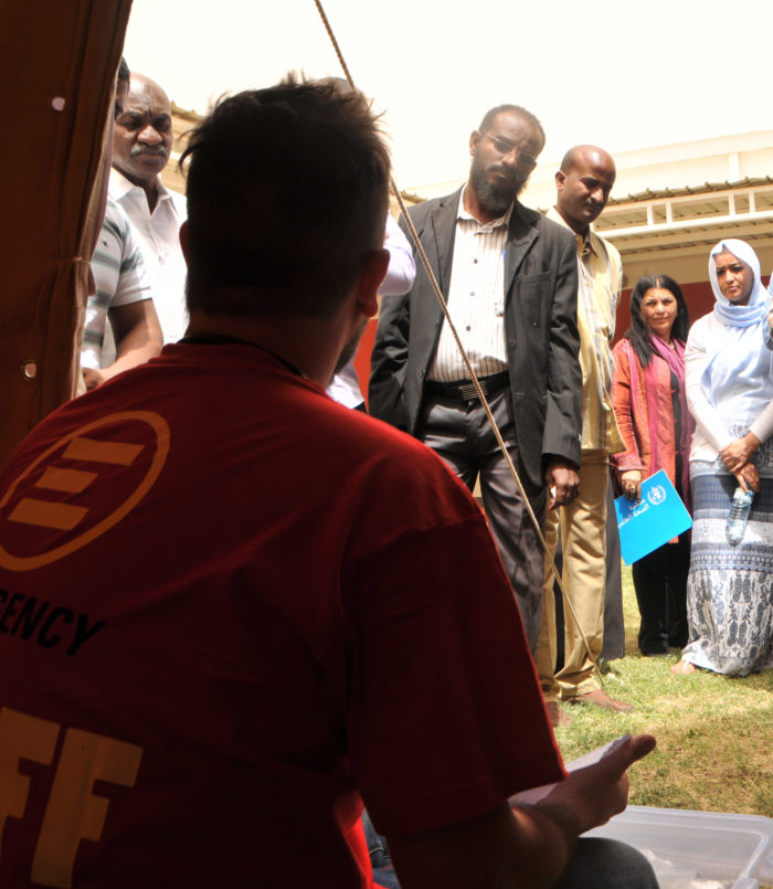 Luca, EMERGENCY staff, during the mass casualty training in Sudan